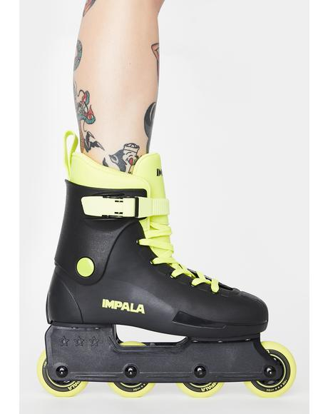 Black Neon Yellow Inline Skates