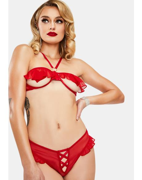 Leave Me Breathless Ruffle Lingerie Set