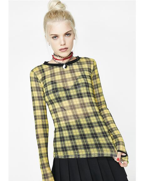 Riot Girl Plaid Mesh Top