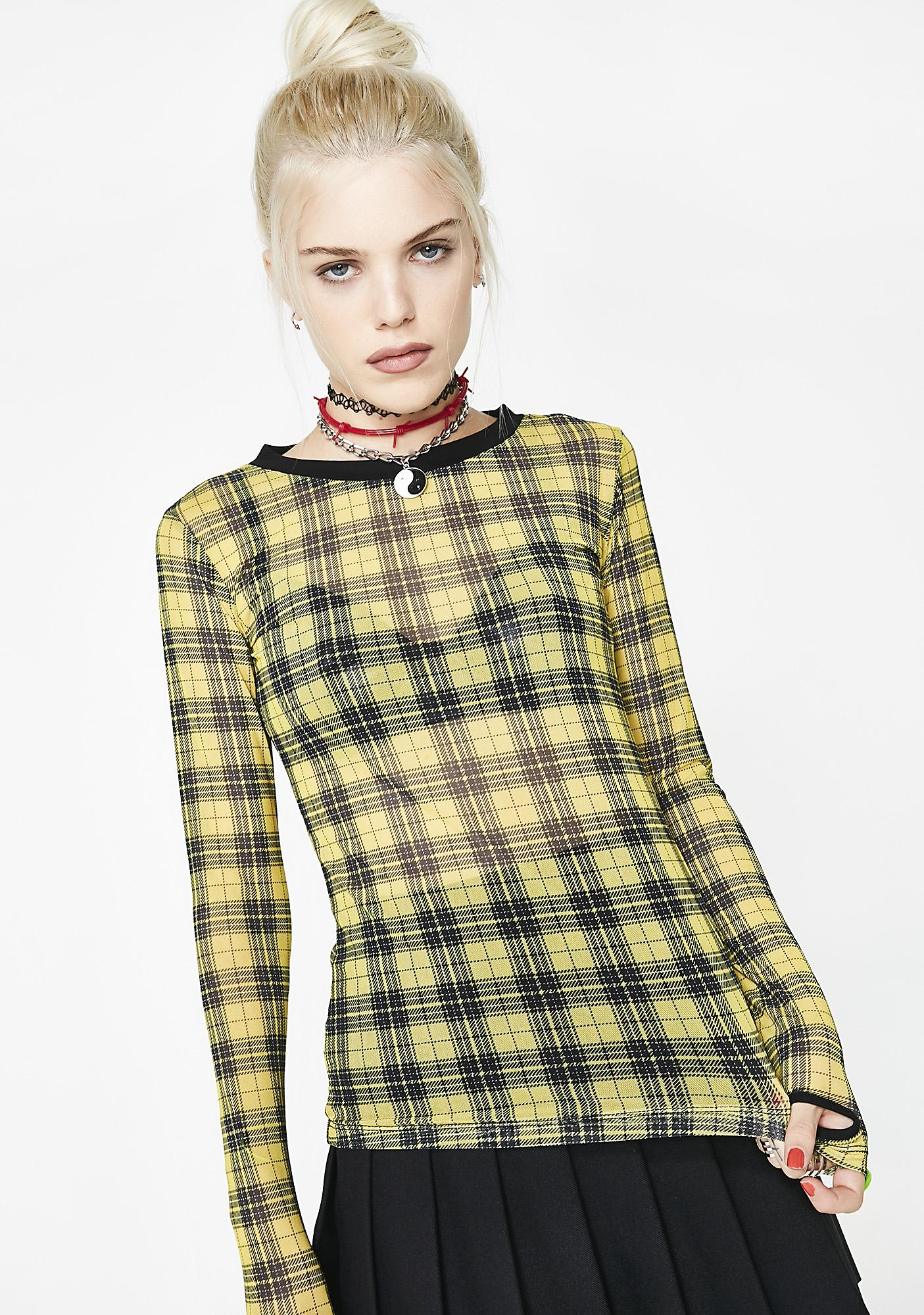 Current Mood Riot Girl Plaid Mesh Top