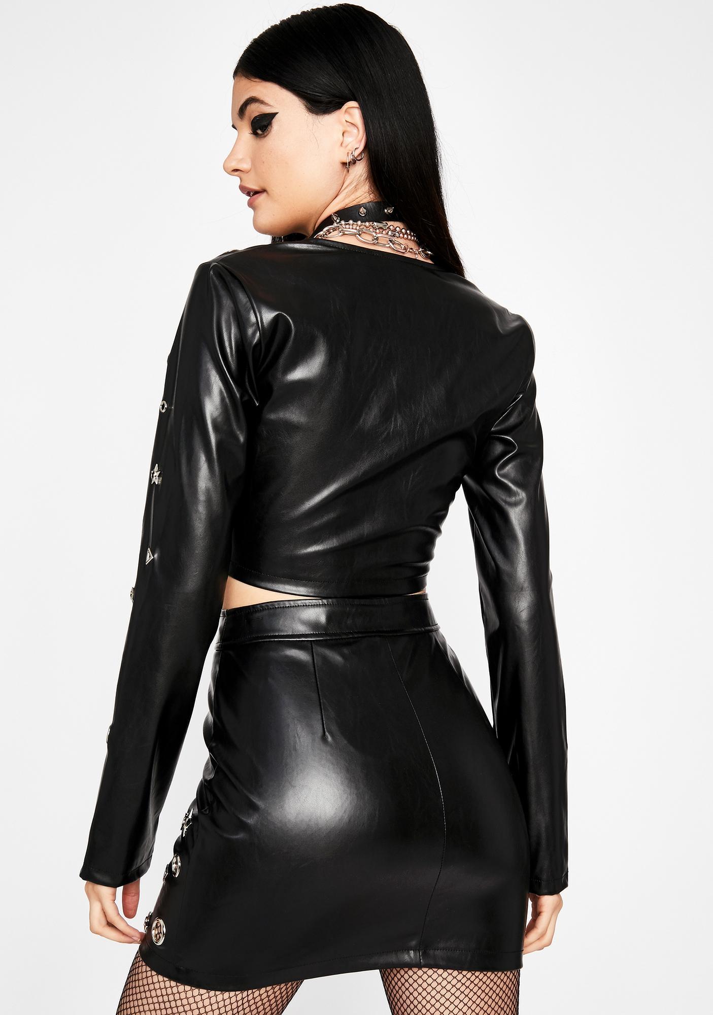 Star Matrix Vegan Leather Skirt