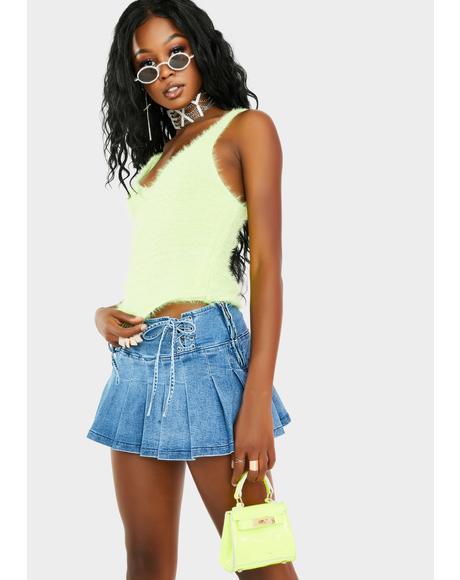 Key Lime Maddy Furry Tank Top
