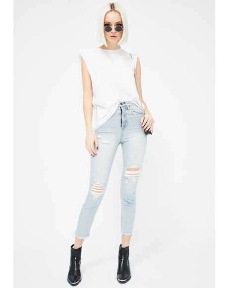 Distressed High Waisted Mum Jeans