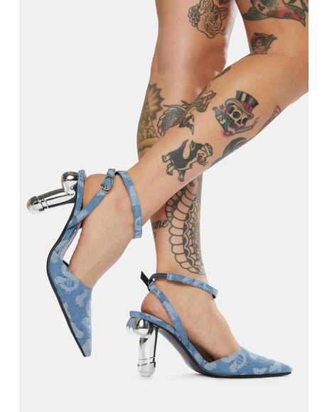 Denim Dick Heel Slingback Pumps