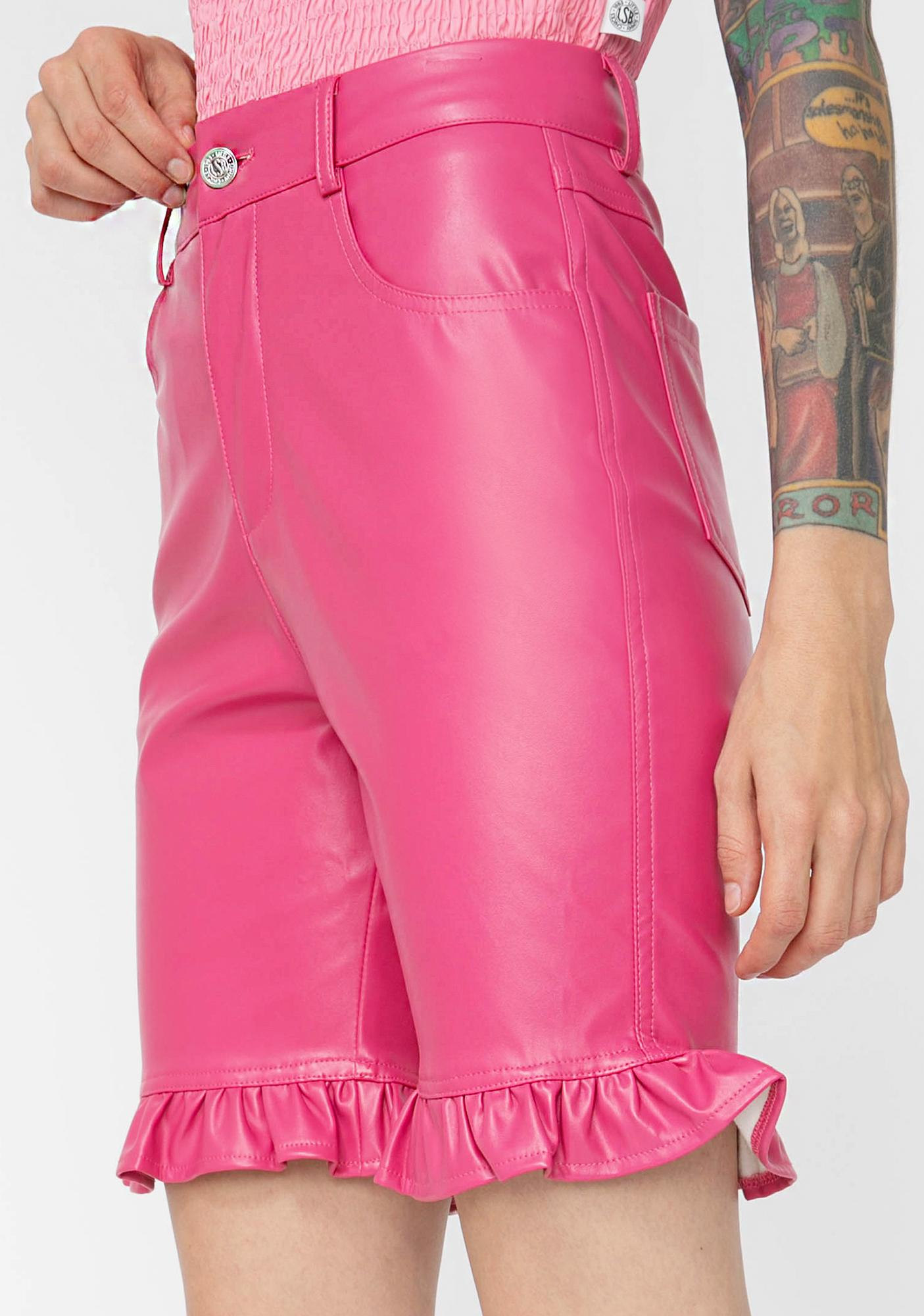 Little Sunny Bite Pink Fake Leather Short Pants