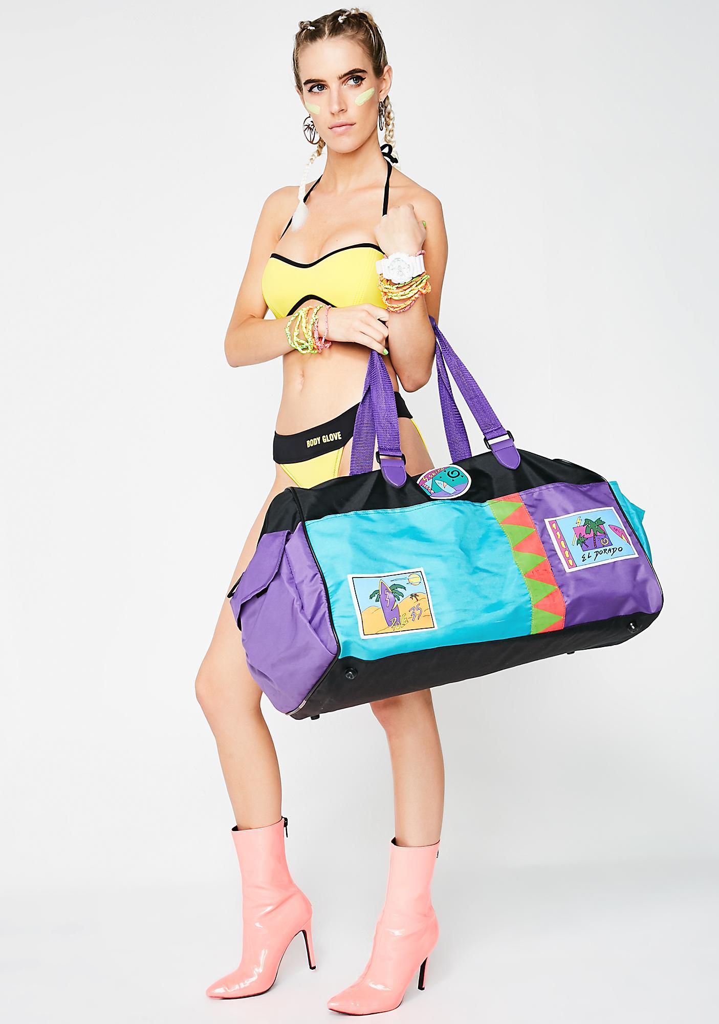 Vintage 80s Neon Duffle Bag