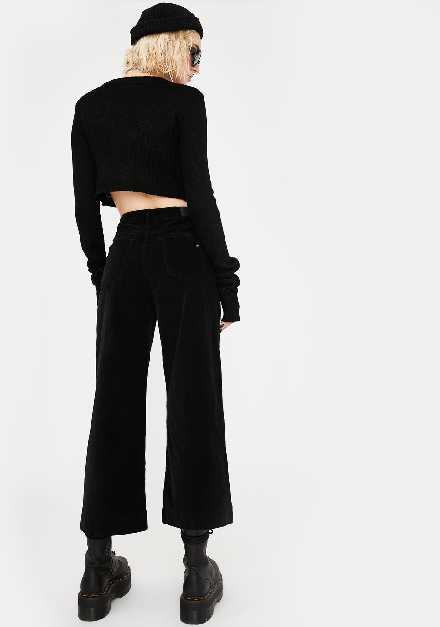 Hidden Denim Black Corduroy Wide Leg Pants