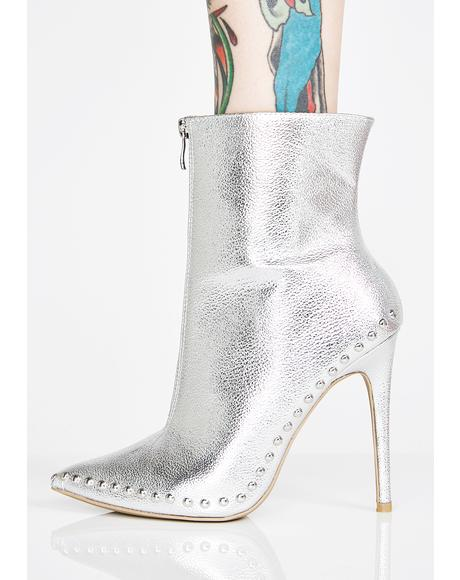 Platinum Into The Abyss Studded Booties