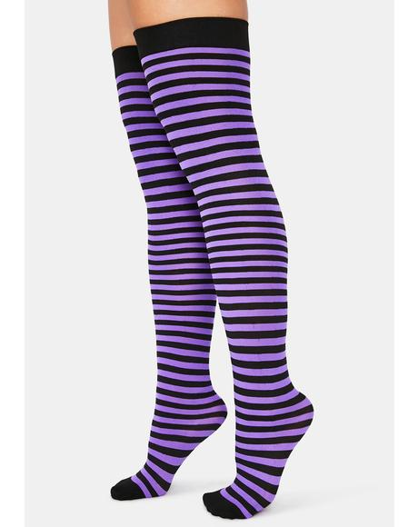 Plum Left 4 Dead Striped Thigh High Socks