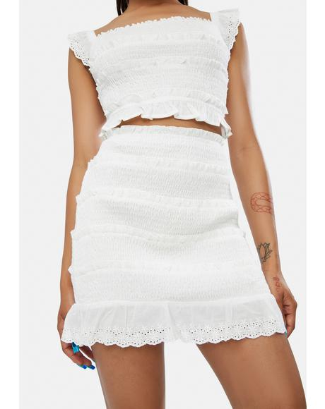 Personal Angel Eyelet Mini Skirt