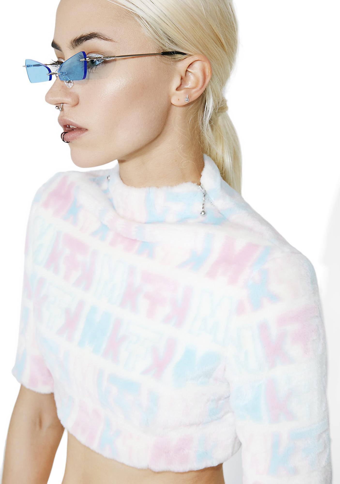 Maria ke Fisherman Pastel Fuzziness Logo Crop Top