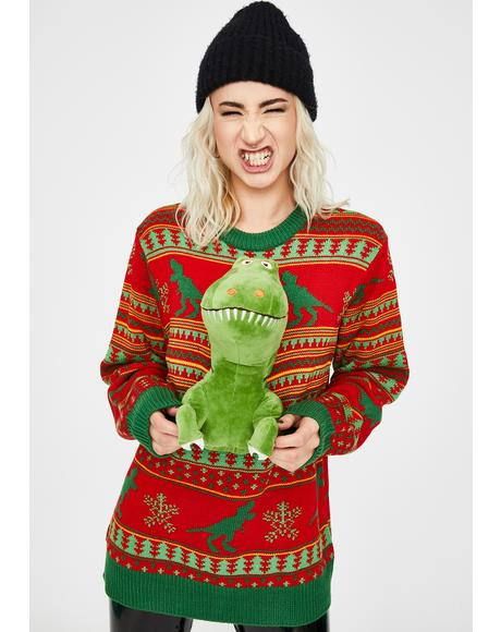 Rex The Halls 3D Dinosaur Sweater