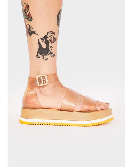 Beige Model Platform Sandals