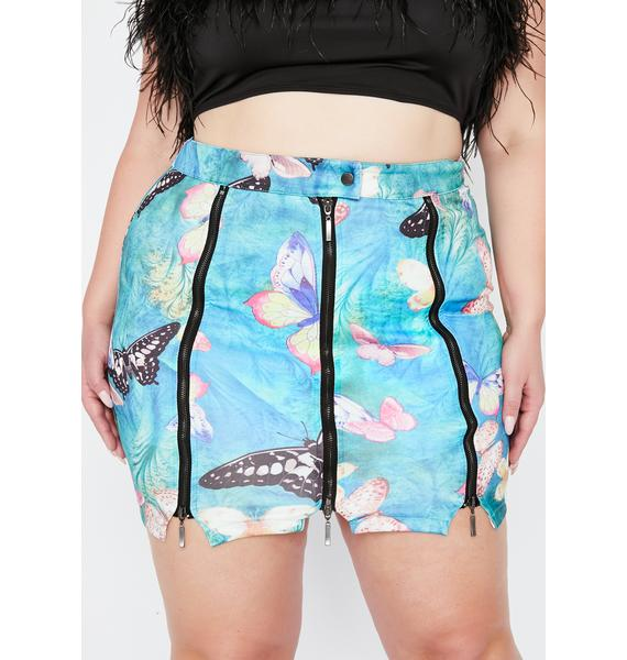 Aqua Nuclear Electric Forest Zipper Skirt