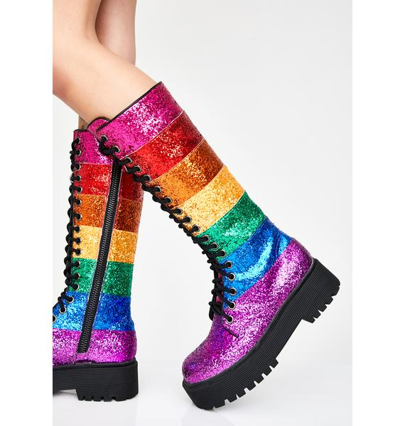 Club Exx Prism Renegade Glitter Boots