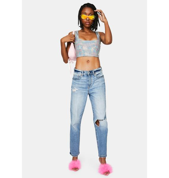 Cosmic Lover Holographic Crop Tank