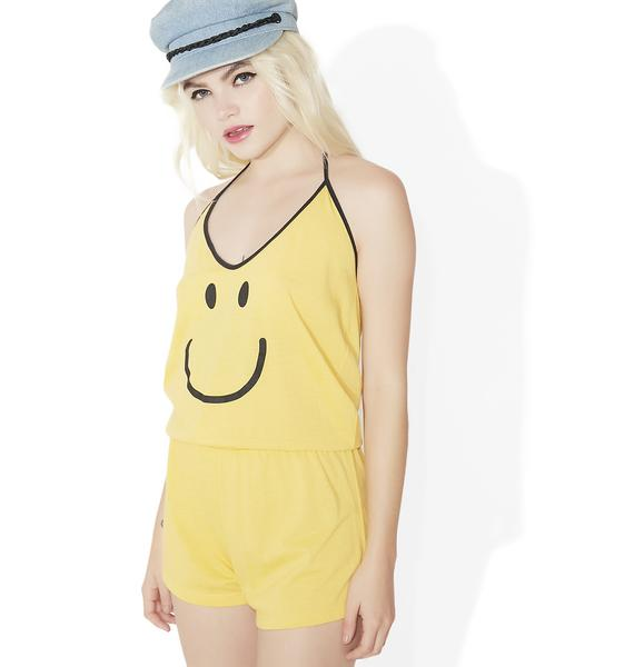 Camp Collection Smiley Face Halter Romper