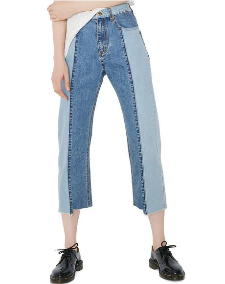 Two Tone Boot Cut Jeans