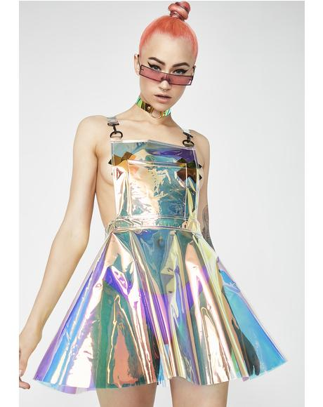 Space Gurl Hologram Overall Dress