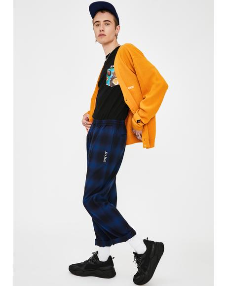 Hombre Plaid Easy Type Pants