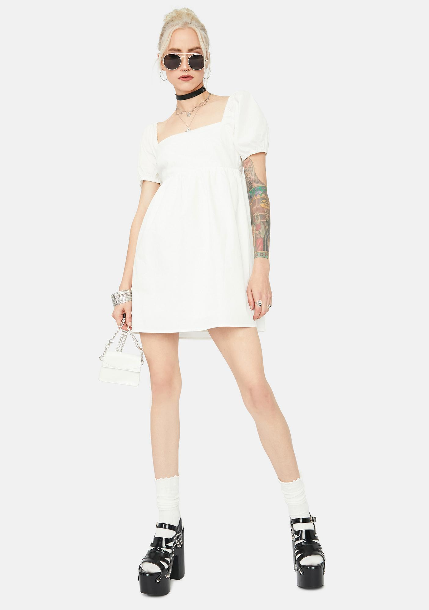 Call Me Angel Tie Back Babydoll Mini Dress
