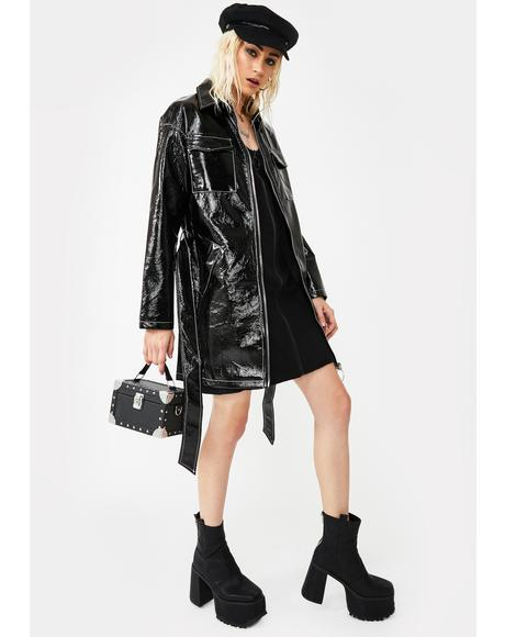 Belted Vegan Leather Trench Coat