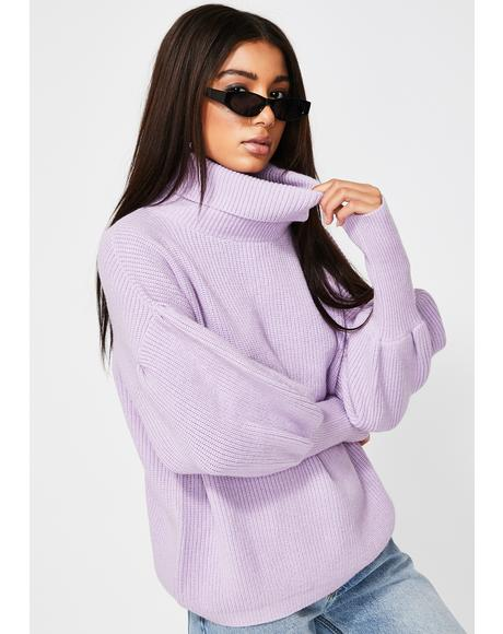 Oversized Lilac Turtleneck Sweater