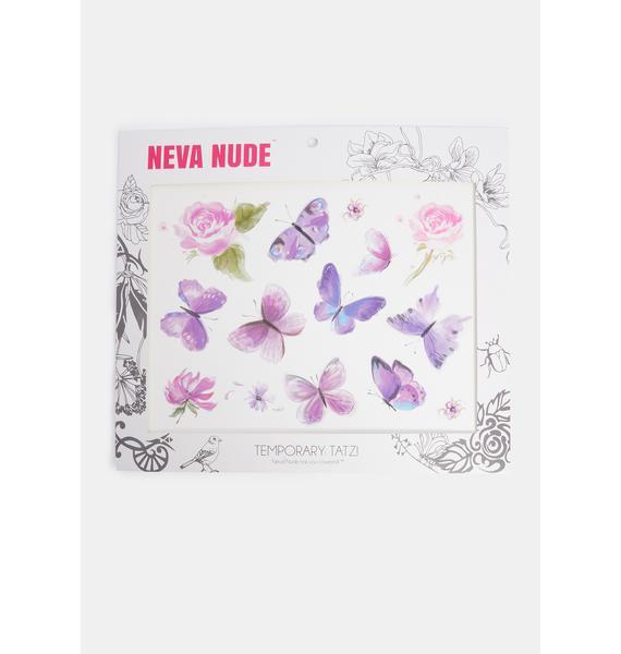 Neva Nude Purple Butterfly Temporary Tattoos
