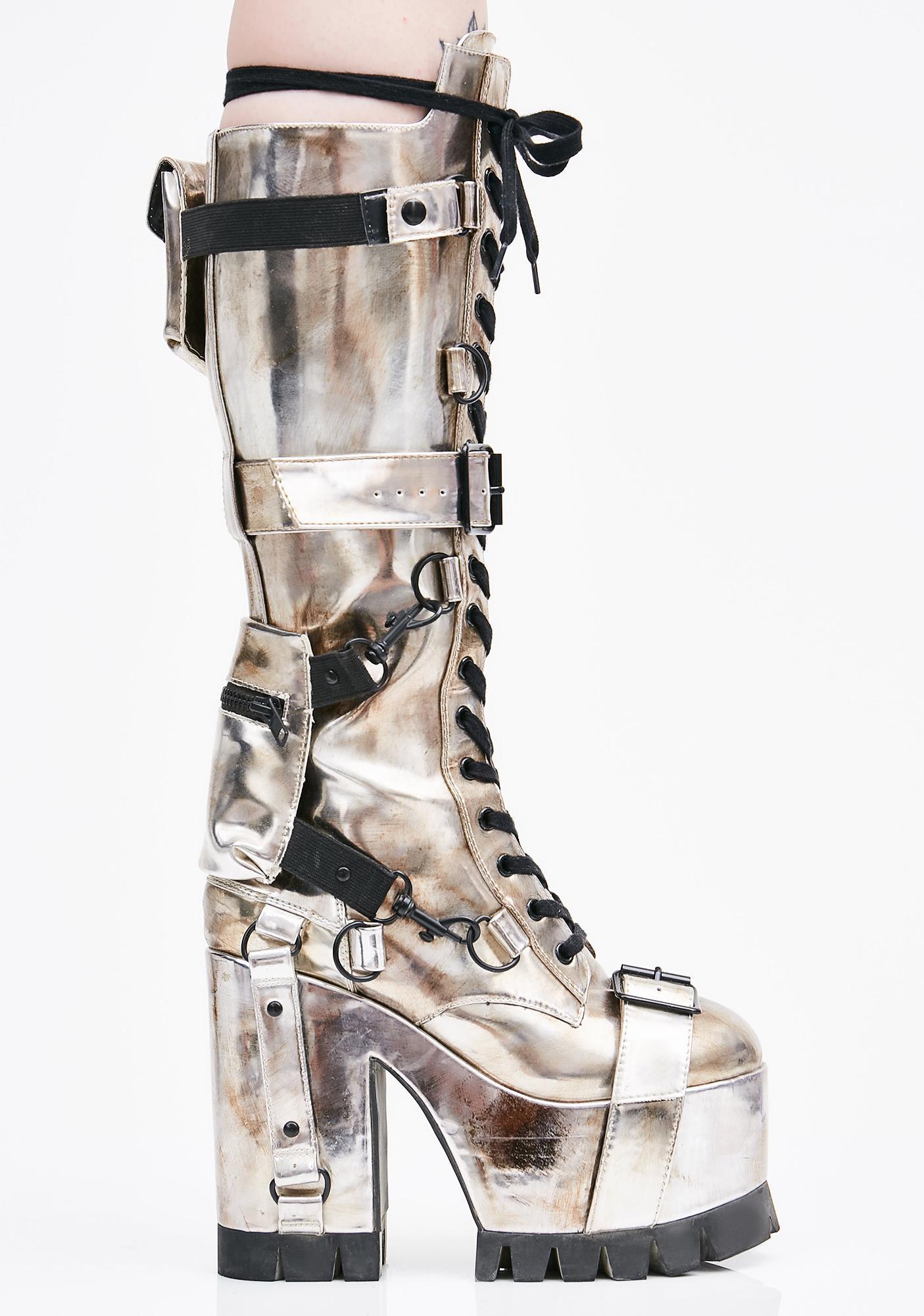 Club Exx Chrome Wasteland Buckled Boots