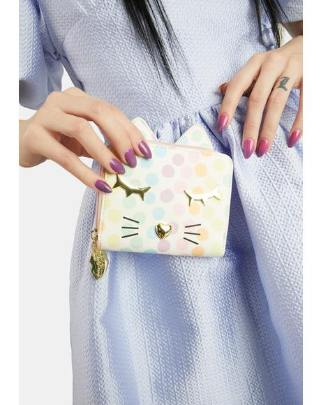 Polka Dot Kitty Kitsch Zip Around Wallet
