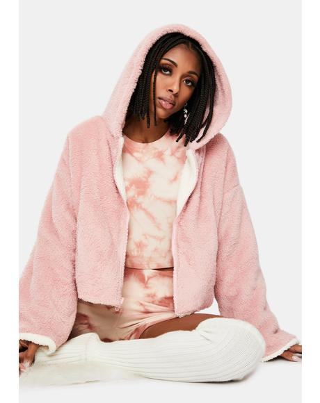 Blush Snuggle Closer Reversible Sherpa Jacket