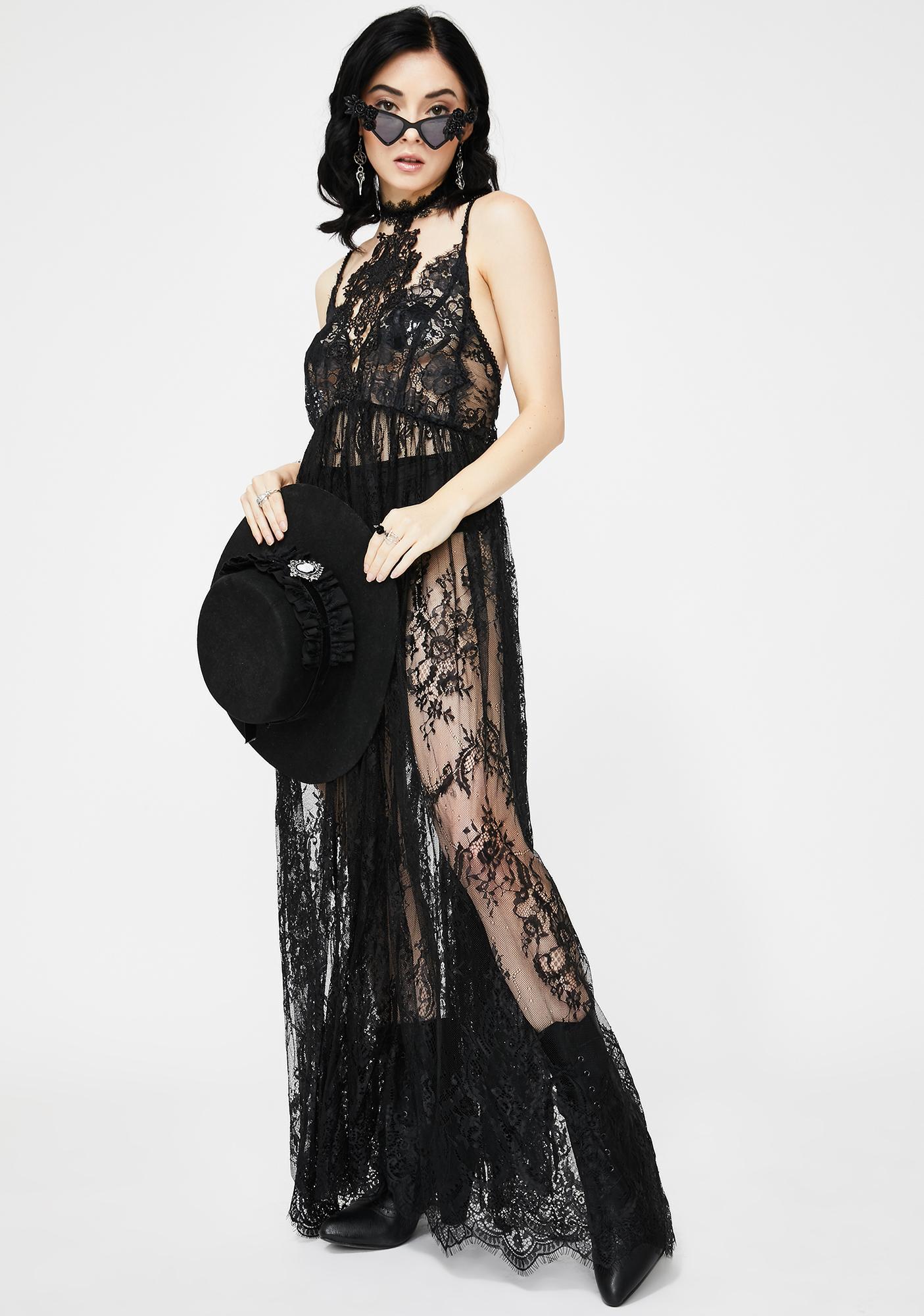 Devil Fashion Sheer Lace Slip Dress