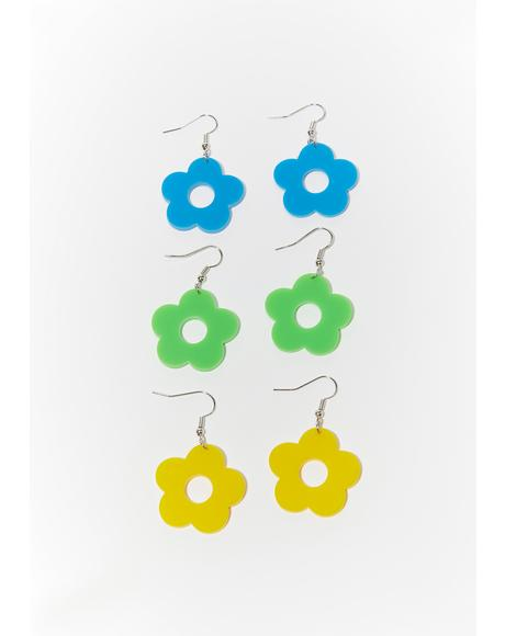 Groovy Gardens Flower Earrings Set