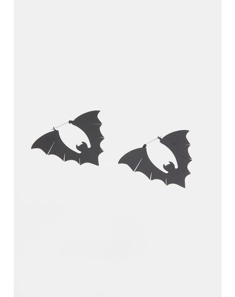 Bats Black Textured Hoop Earrings
