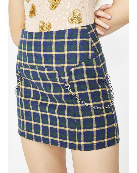 Aqua Paint The Town Plaid Skirt