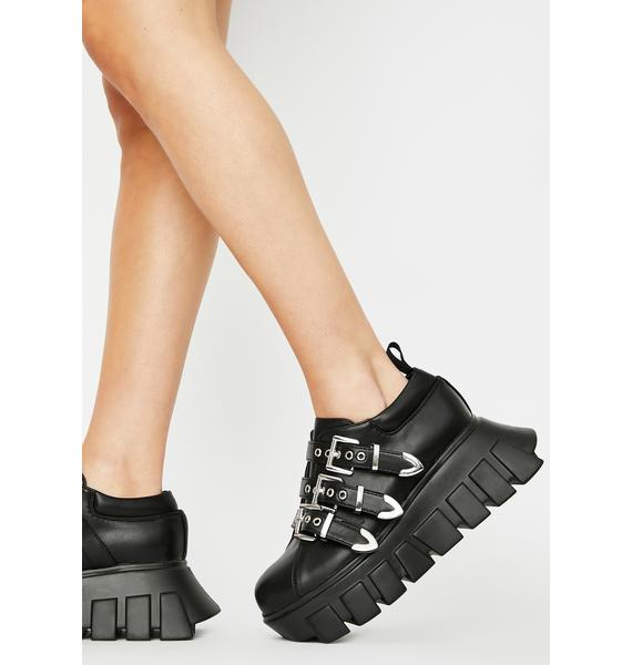Lamoda Chrome Buckle Strap Platform Sneakers