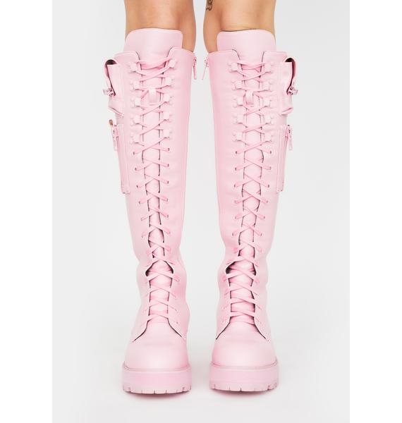 Sugar Thrillz Bubblegum Obsidian Pocket Combat Boots