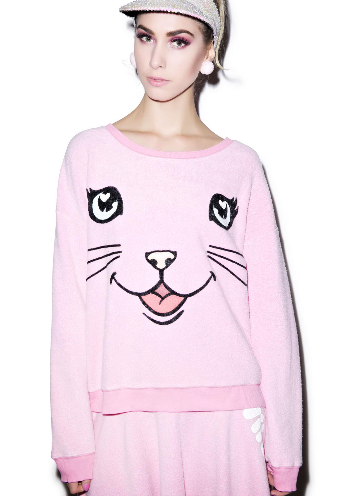 Wildfox Couture Happy Cat Oversized Sweatshirt
