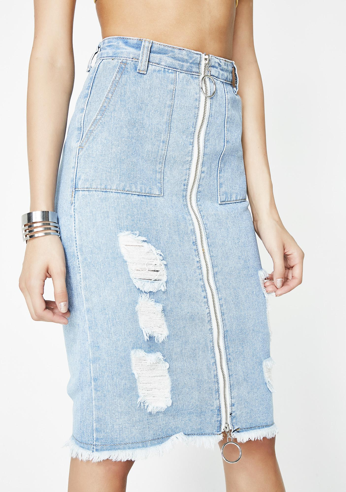 Sunset Strip Down Denim Skirt