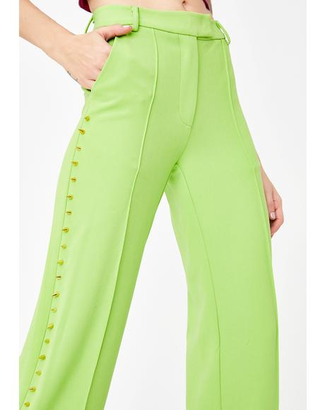 Green Studded Suit Pants