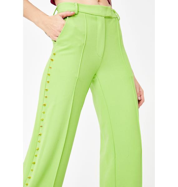 No Dress Green Studded Suit Pants