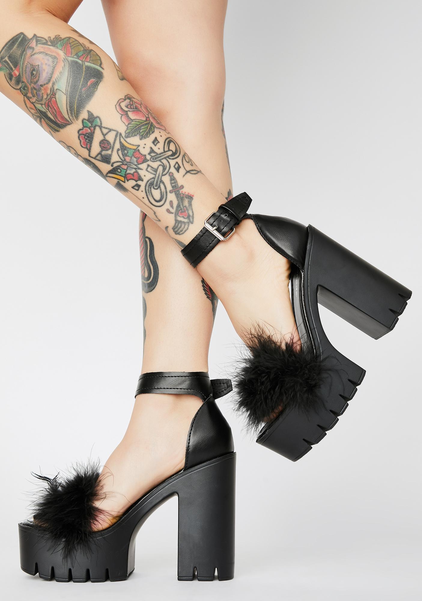 Just Say So Marabou Heels