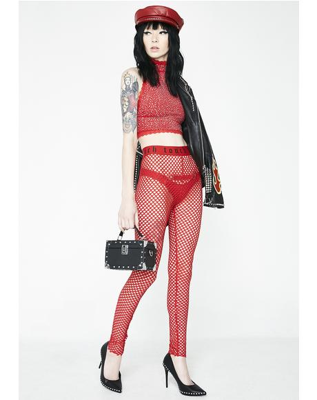 Fire Get Close Fishnet Leggings