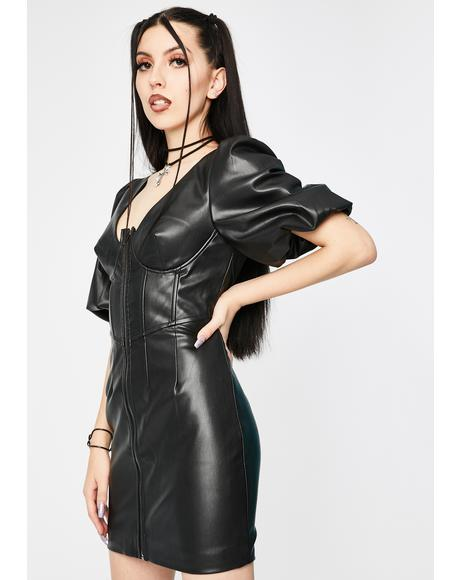 Vegan Leather Corset Mini Dress