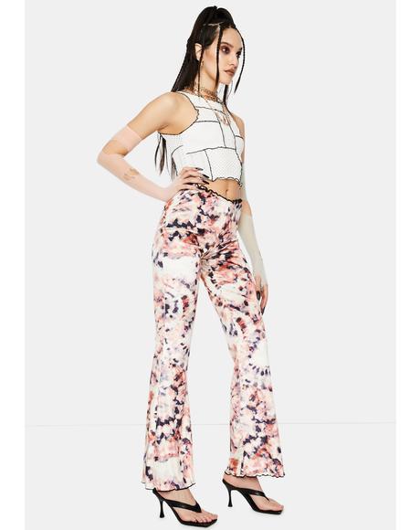 Tie Dye Print Bootcut Jersey Trousers