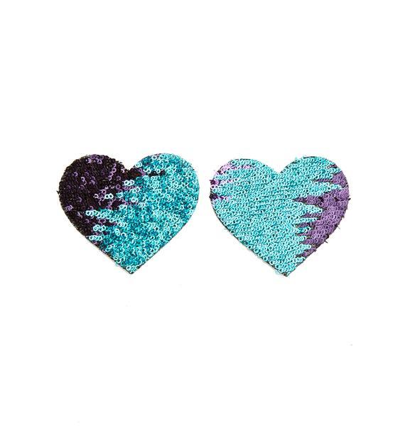 Neva Nude Multi-Color Heart Sequin Pasties