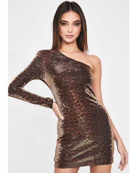 Sophie Leopard One-Sleeve Dress