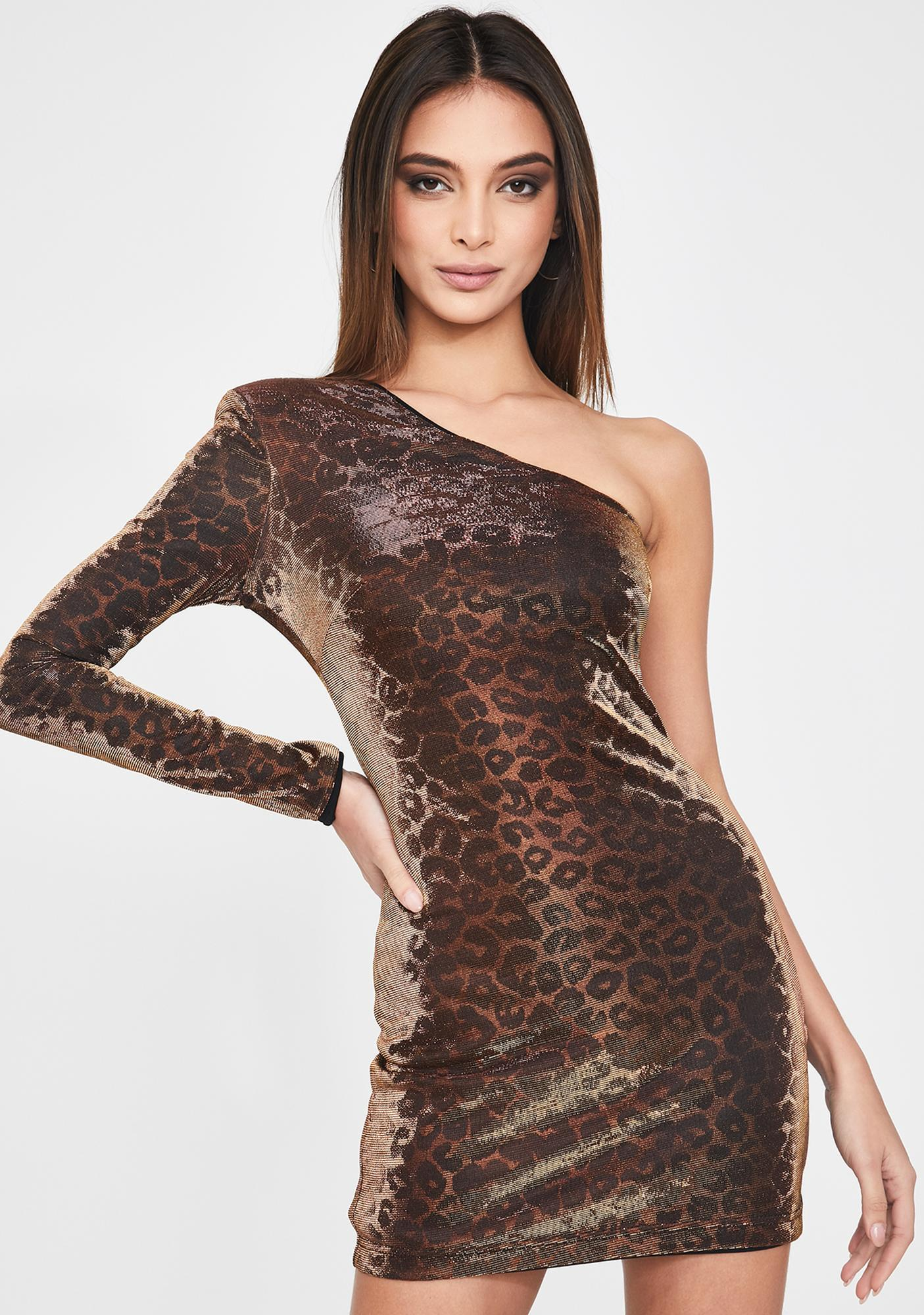 Cosmopolitan x Dress the Population Sophie Leopard One-Sleeve Dress