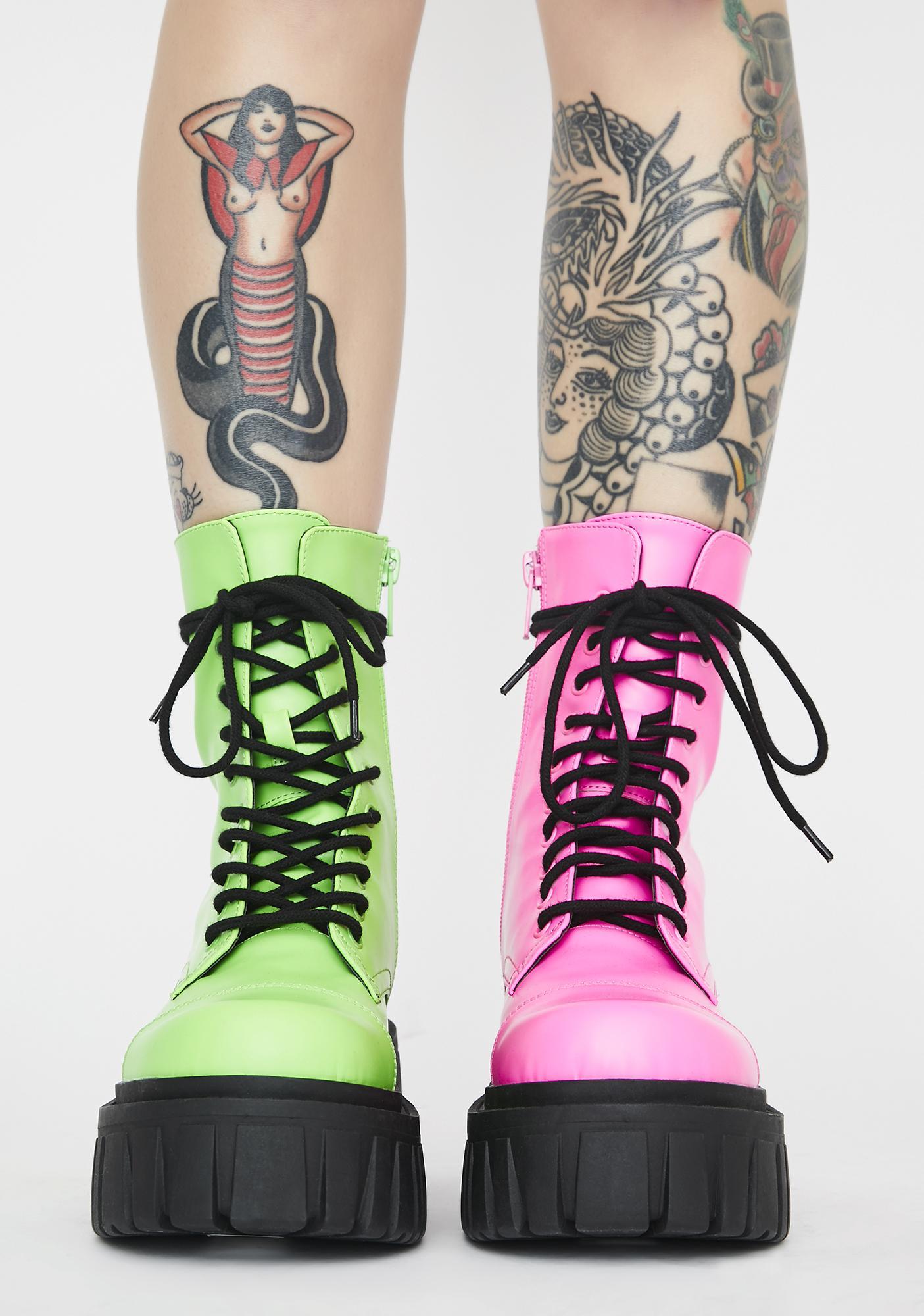 Club Exx Prismatic Split Mismatched Combat Boots