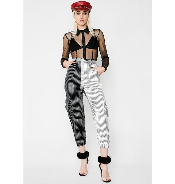 Jaded London Pinstripe Cargo Trousers With Diamonte Tie Belt